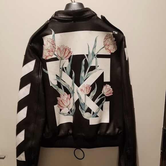 Off-White Jackets & Blazers - NWT-Off White Women's Leather Jacket Floral Arrows